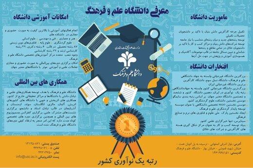 دانشگاه علم و فرهنگ، رتبه یک نوآوری کشور