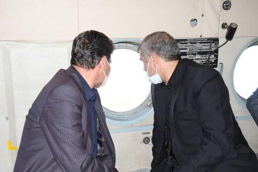 بازدید هوایی نائب رئیس مجلس شورای اسلامی از مناطق زلزله قطور