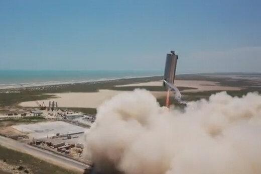 ببینید | دومین پرش ۵۰۰ فوتی موشک «استارشیپ» انجام شد