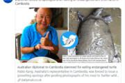 ببینید | عذرخواهی سفیر استرالیا در کامبوج به دلیل خوردن لاک پشت