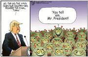 اینم نمایی ویژه از گردهمایی انتخاباتی ترامپ!