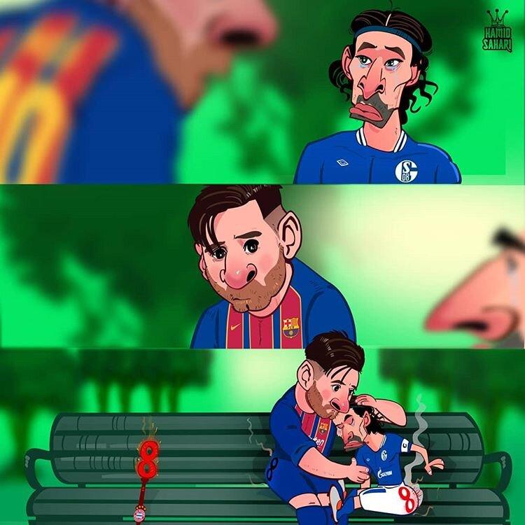 دلداری مسی به بازیکنان شالکه را ببینید!