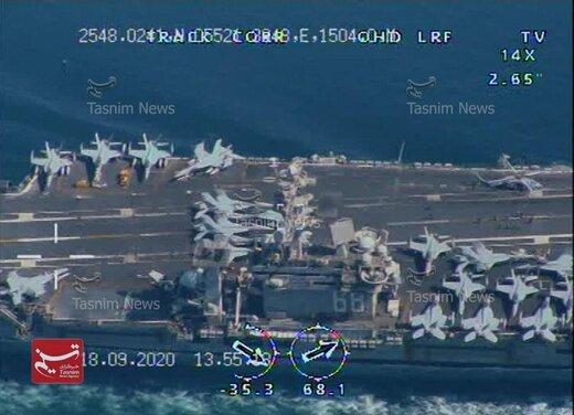 تصاویر اختصاصی تسنیم از رهگیری ناو هواپیمابر نیمیتز توسط پهپادهای بومی نیروی دریایی سپاه