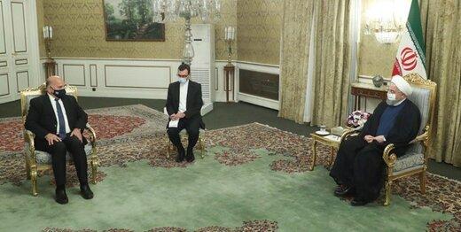 عکسی از دیدار دیپلماتیک روحانی با وزیر خارجه عراق زیر سایه کرونا