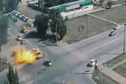 ببینید | انفجار مینیبوسی پر از سیلندرهای گاز