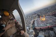 عکس | ادای احترام فرمانده نظامی عراقی بر فراز بینالحرمین