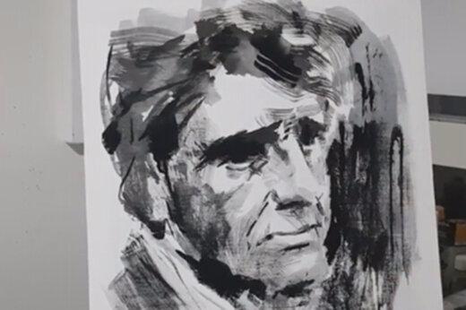 ببینید | به تصویر کشیدن چهره استاد شجریان توسط بزرگمهر حسین پور