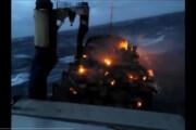 ببینید | جزغاله شدن ماشینهای سفارشی آمریکایی روی عرشه کشتی