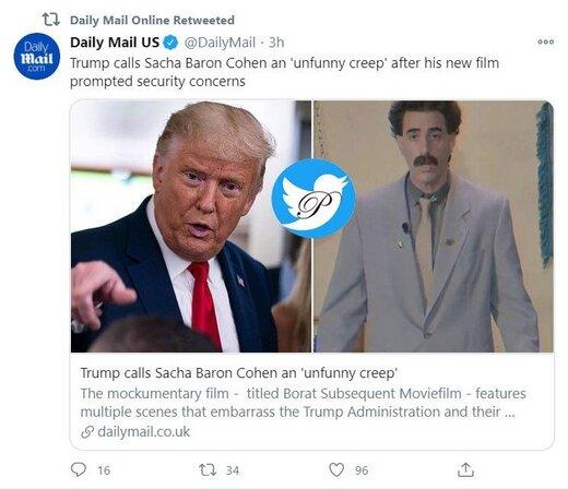 عصبانیت ترامپ و دار و دسته از فیلم جدید بورات:  او احمقیست که خیال میکند باحال است
