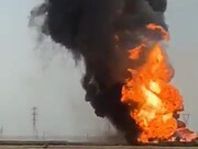 ببینید | انفجار وحشتناک یک خط لوله نفت در عراق