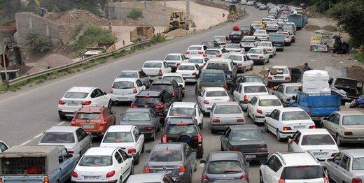 ترافیک سنگین در جاده هراز، اتوبان کرج و چالوس