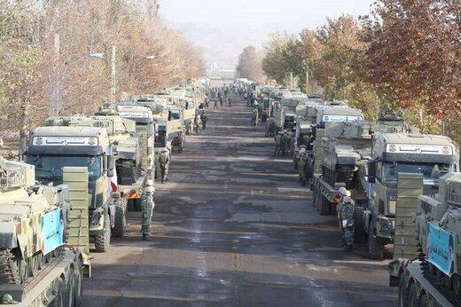 اعزام تجهیزات لشکر ۱۶ زرهی قزوین به مرزهای شمال غرب