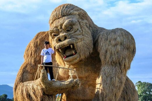 نمایشگاه مجسمههای بزرگ ساخته شده از کاه برنج در تایلند