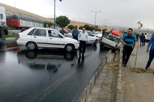 ببینید | تصادف وحشتناک و زنجیرهای در آزادراه پردیس به تهران
