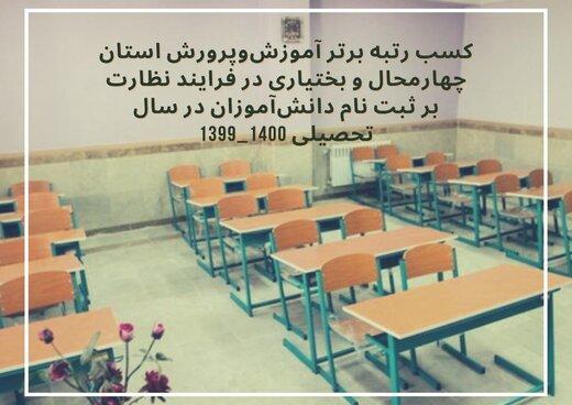 کسب رتبه برتر آموزشوپرورش استان در فرایند نظارت بر ثبت نام دانشآموزان در سال تحصیلی ۱۴۰۰-۱۳۹۹