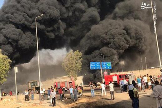 ببینید | آتشسوزی خط لوله نفت در لبنان
