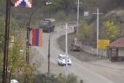 ببینید | ورود کاروان نیروهای صلح روسیه به منطقه قرهباغ