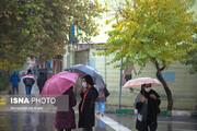 ببینید | بارش باران پاییزی تهران را زیبا کرد