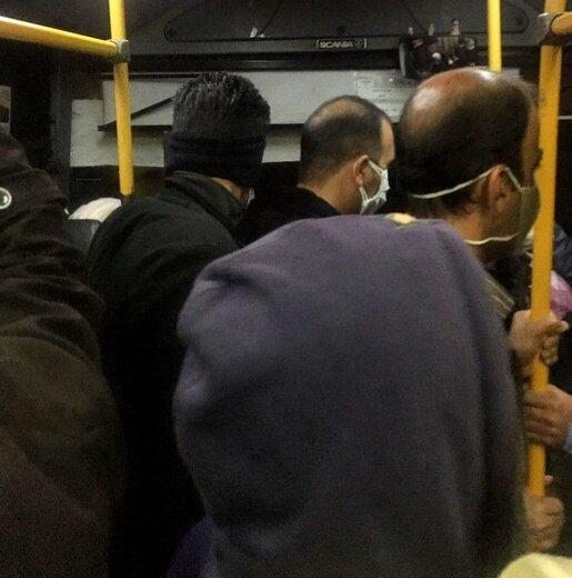 شلوغی اتوبوسهای شهری در روز اول تعطیلات کرونایی