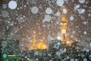 ببینید | بارش دومین برف پاییزی در حرم مطهر امام رضا علیهالسلام