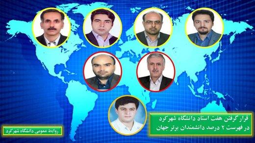 قرار گرفتن هفت نفر از اعضای هیات علمی دانشگاه شهرکرد در فهرست ۲ درصد دانشمندان برتر جهان
