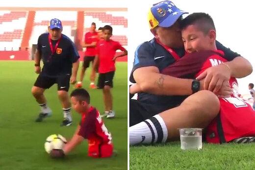 ببینید | وقتی مارادونا آرزوی یک کودک معلول را برآورده کرد