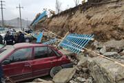 تصاویر | مدفون شدن خودروها بر اثر ریزش دیوار بهشت محمدی سنندج