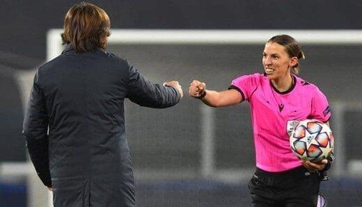 سوت تاریخی یک زن در لیگ قهرمانان اروپا /عکس