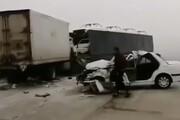 ببینید | تصادف شدید زنجیرهای و مرگبار در محور زنجان-ابهر