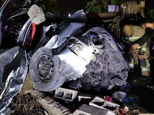 یک کشته و ۳ زخمی بخاطر تصادف شدید پژو ۲۰۶/ عکس