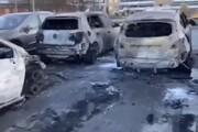 ببینید | سوزاندن دهها خودرو توسط افراد ناشناس در جشن کریسمس در هلمستاد سوئد!
