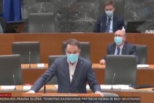 ببینید | لحظهای ترسناک از وقوع زلزله در پارلمان اسلوونی