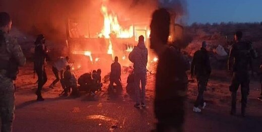 در حمله به اتوبوسی در سوریه ۲۸ تن کشته شدند