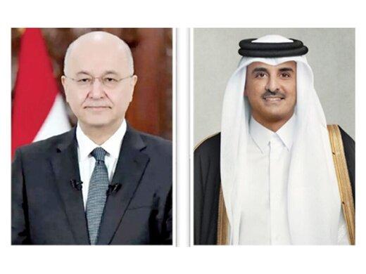برهم صالح در تماس با امیرقطر وحدت جهان عرب را تبریک گفت