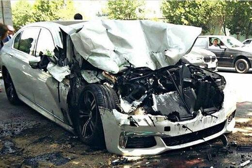 ببینید | تصادف شدید خودروی BMW با یک گاومیش در اهواز