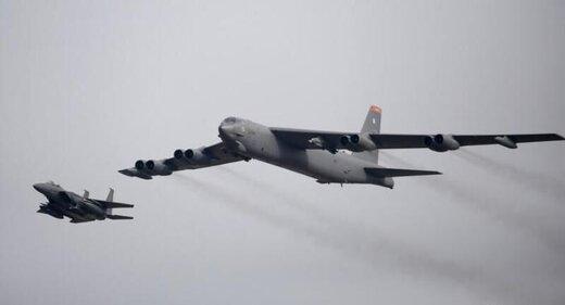 گشتزنی دو بمبافکن آمریکا با هواپیماهای وابسته به اسرائیل در خاورمیانه