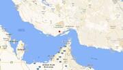 عکس  | نقشه منطقه زلزله ۵/۵ ریشتری در حوالی بندر لنگه،ثو مرز کنگ در خلیج فارس