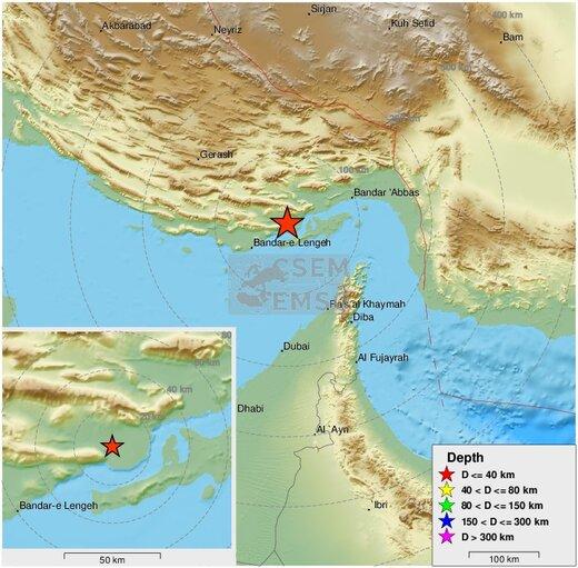 عکس  | نقشه منطقه زلزله ۵/۵ ریشتری در حوالی بندر لنگه