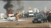 آتش گرفتن وانت بار در سه راه آدران/علت حریق نشت مخزن گاز