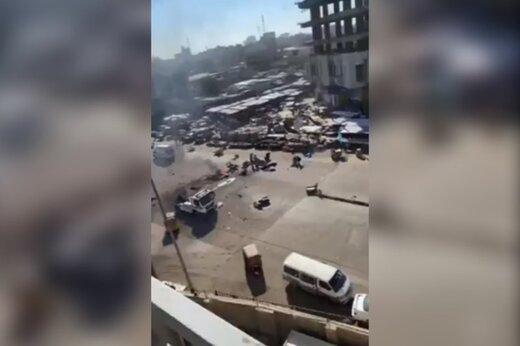 ببینید | فیلمی تلخ از لحظه وقوع انفجار دوم و مرگبار در بغداد