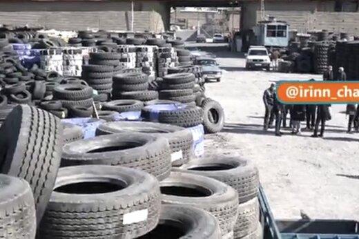 ببینید | کشف 240 هزار حلقه لاستیک در یک انبار غیرمجاز در تهران