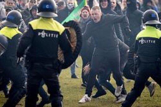 ببینید | درگیری پلیس و معترضان به محدودیتهای کرونایی در هلند