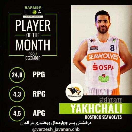 بسکتبالیست چهارمحال وبختیاری برترین بازیکن ماه آلمان شد