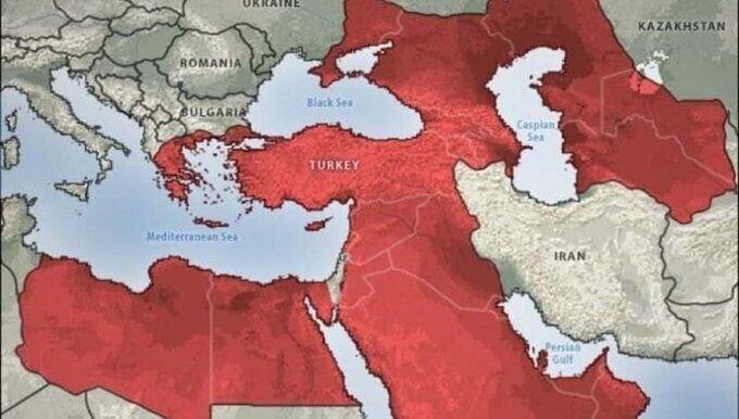 اردوغان از امپراتوری خود رونمایی کرد!؛نقشهای با خط فرضی زیرنظر حکومت ترکیه که مصر و عربستان را هم دربرگرفته!/عکس