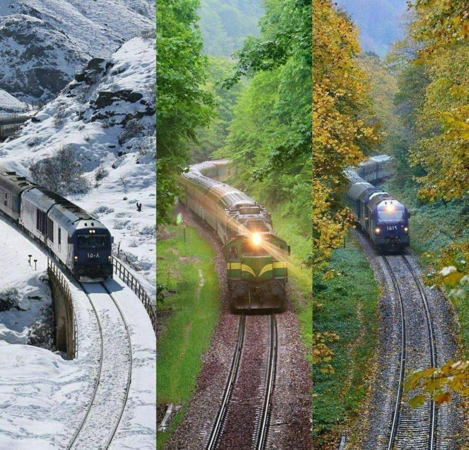 ببینید | تصویری دیدنی از مسیر راهآهن مازندران در سه فصل مختلف