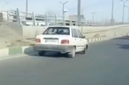 ببینید | حرکت عجیب و خطرناک راننده پراید در اتوبان