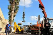 ببینید | آخرین مجسمه دیکتاتور اسپانیا زنجیر به گردن از میان مردم رفت