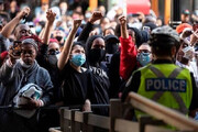 ببینید | تظاهرات در مینیاپولیس در آستانه محاکمه قاتل جورج فلوید