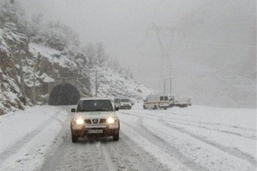 برف سنگین در جاده چالوس