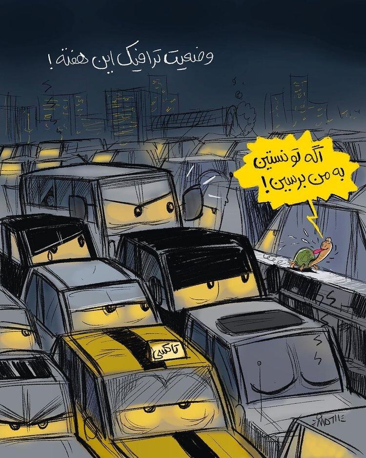ببینید لاکپشت هم از این ترافیک جلو میزنه!